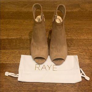 Raye nude open heel peep toe zip bootie